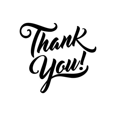 Dank u mooie van letters voorzien geïsoleerde tekst vectorillustratie. Dank je! wenskaart voor presentatiedia.