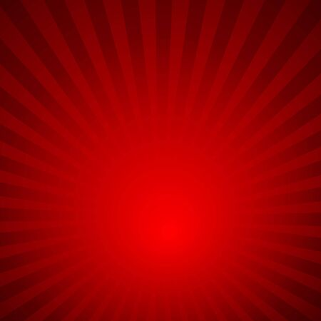 Sunburst red rays pattern. Radial background vector illustration.
