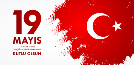 19 mayis Ataturk'u anma, genclik ve spor bayrami. Translation from turkish: 19th may commemoration of Ataturk, youth and sports day. Turkish holiday greeting card vector illustration. Stock Illustratie