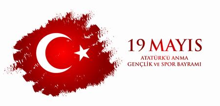 19 mayis Ataturku anma, genclik ve spor bayrami. Translation from turkish: 19th may commemoration of Ataturk, youth and sports day. Turkish holiday greeting card vector illustration.