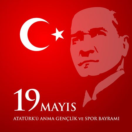 April 28, 2017: A vector illustration of a Mustafa Kemal Ataturk on a 19th may commemoration of Ataturk, youth and sports day greeting poster.