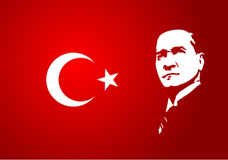 April 28, 2017: A vector illustration of a Mustafa Kemal Ataturk on a red flag background.