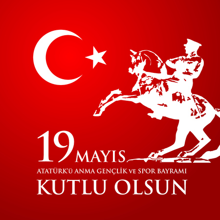 commemoration day: 19th may commemoration of Ataturk, youth and sports day with potrait. Illustration