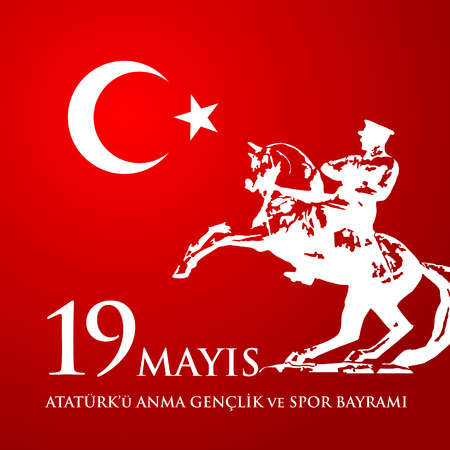 19th may commemoration of Ataturk, youth and sports day with horse and man potrait