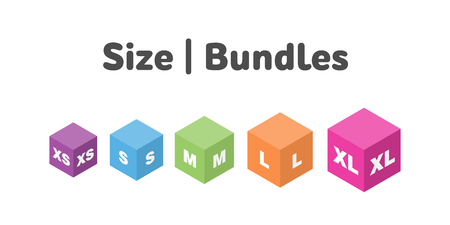 Different size bundle icons set. Literal measurement symbol vector illustration. Labels from extra small to extra large.