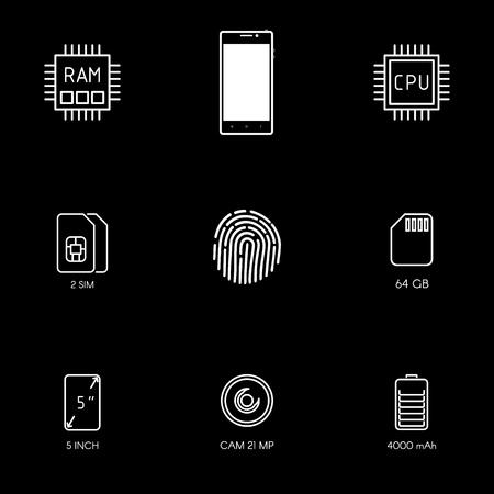 Smartphone specification flat line icons. Gadget description. Icon set vector. Ilustrace