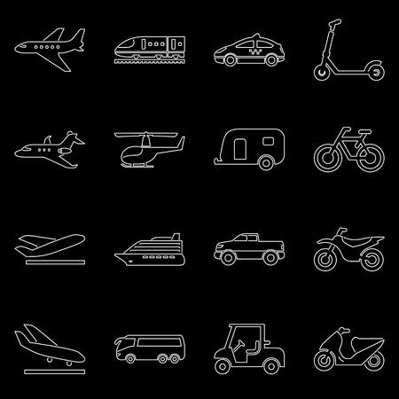 Transport and travel icon set simple flat vector illustration. Çizim