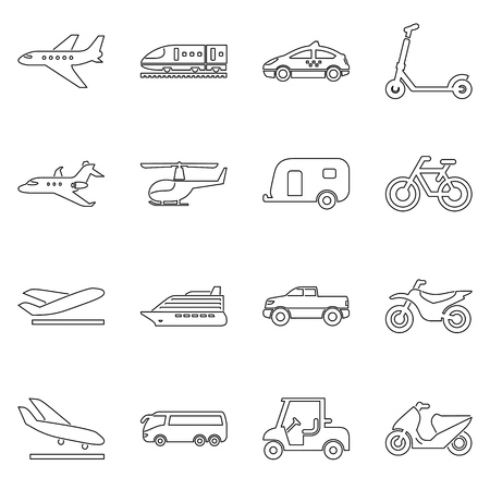 Transport and travel icon set simple flat vector illustration. Çizim