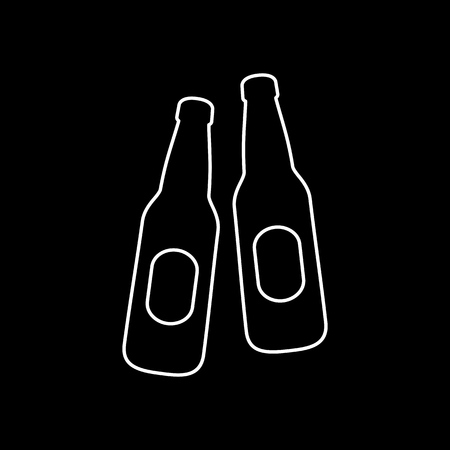 Beer bootles icon simple flat style vector illustration.