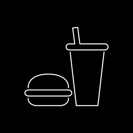 Burger and drink icon simple flat style vector illustration.