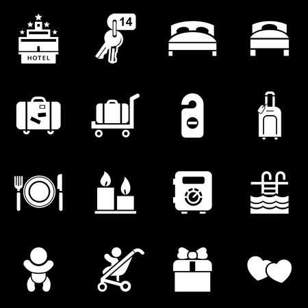 Hotel icon set simple flat style vector illustration.