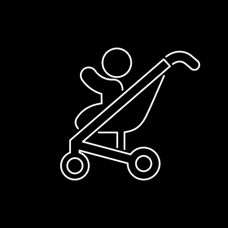 baby and mother: Baby pram icon simple flat style vector illustration. Illustration