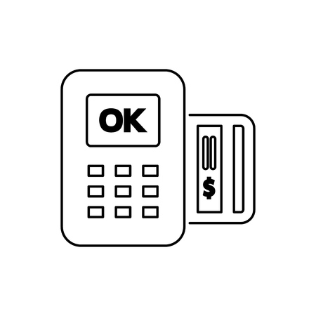reader: POS icon flat style simple vector illustration. Payment terminal. Illustration