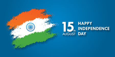 India Independence Day greeting card vector illustration. 15th august happy independence day.