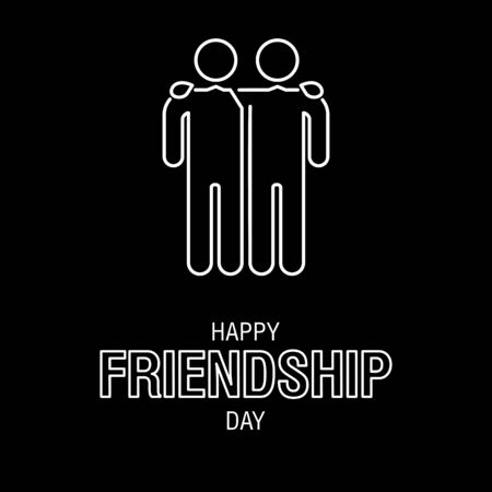 Happy Friendship Day text for friends greeting card simple design. Illustration