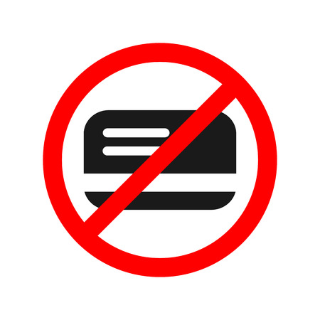 No card allowed sign. Only cash.
