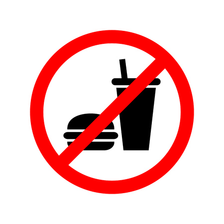No food or drinks allowed sign. Illustration