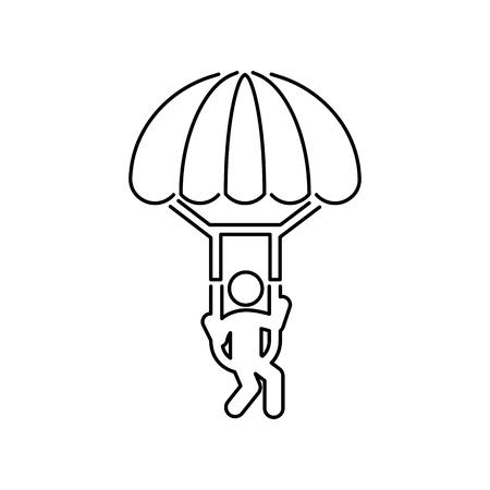 パラグライダー パラシュート ジャンプ アイコン シンプルなフラット イラスト  イラスト・ベクター素材