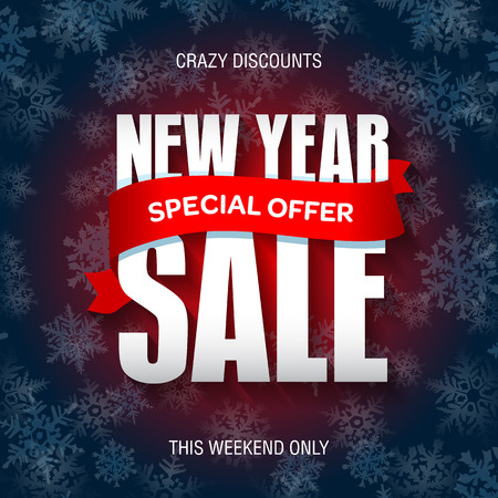 New Year sale badge, label, promo banner template. Special offer text on ribbon.