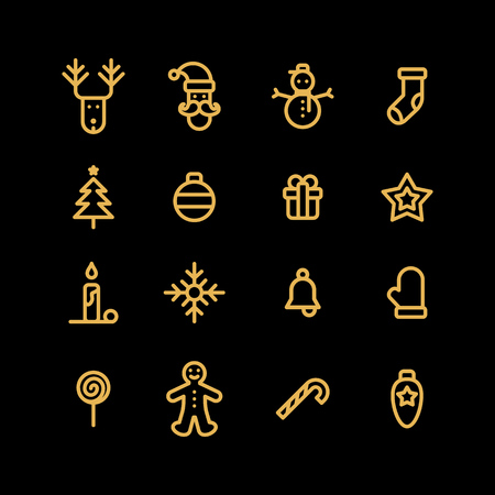 Christmas icons set simple flat style vector illustration.