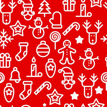 Christmas symbols seamless pattern simple vector illustration. Imagens - 91278539