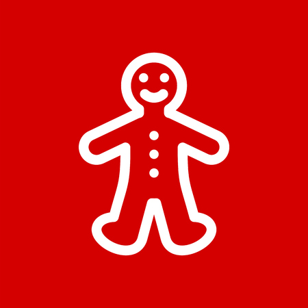 Gingerbread cookie man simple flat icon vector.