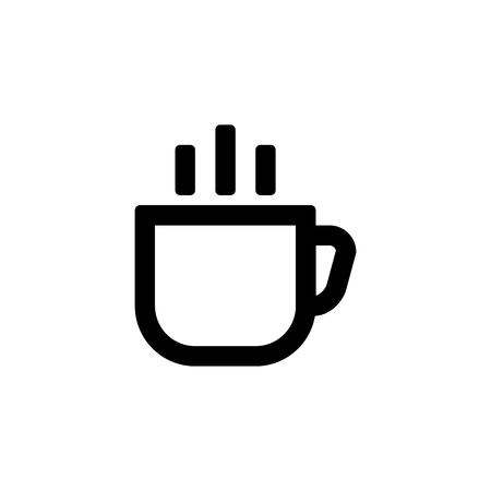Coffee cup icon for simple flat style ui design.