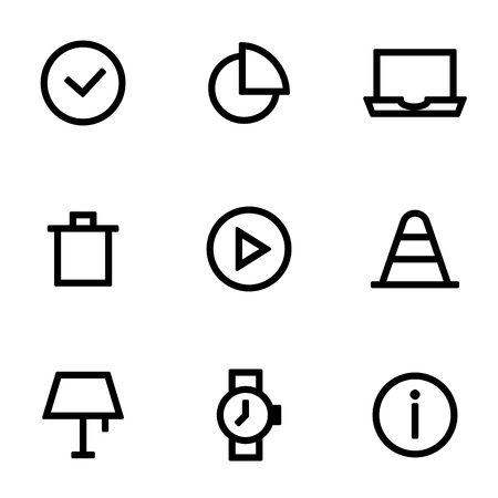Set of icons for simple flat style user interface design.