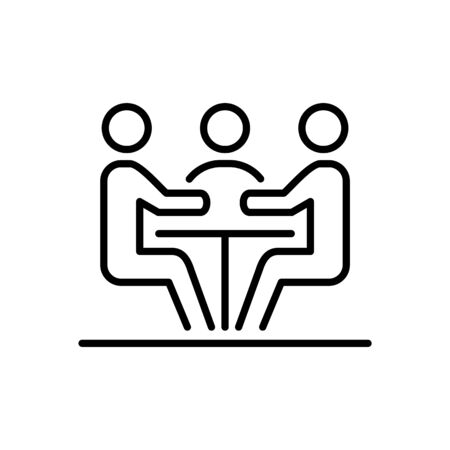 Meeting business people icon simple line flat illustration. Vectores