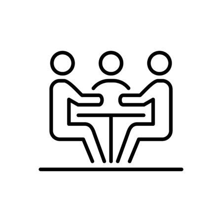 Meeting business people icon simple line flat illustration. Çizim