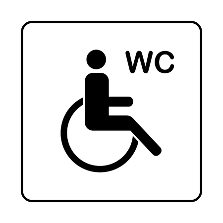 WC Toilet door plate icon. Simple bathroom plate.