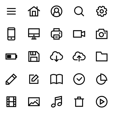 Set of icons for simple flat style design.