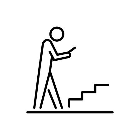 Man using smartphone on the stairs vector illustration