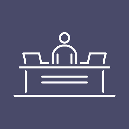 Reception security desk business people icon simple line flat illustration. 矢量图像