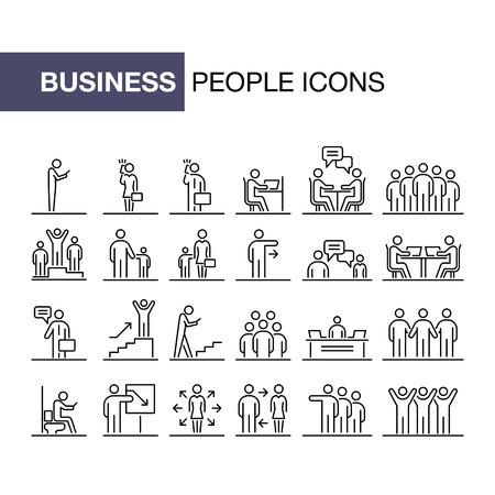 Business people 24 icons set simple line flat illustration.