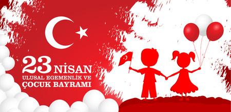 23 nisan cocuk baryrami. Translation: Turkish April 23 Childrens Day. Vector illustration with children holding flag and balloons.