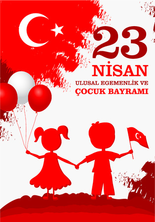 23 nisan cocuk baryrami. Translation: Turkish April 23 Childrens Day. Vector illustration with children holding flag and balloons.