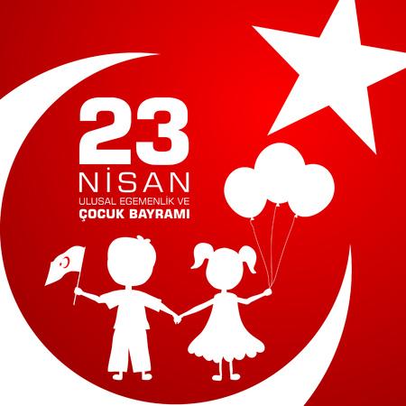 23 nisan cocuk baryrami. Translation: Turkish April 23 Childrens Day. Vector illustration Illustration
