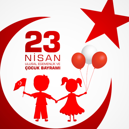 23 nisan cocuk baryrami, Turkish April 23rd Children's Day celebration with Turkey flag and text. Stok Fotoğraf - 98179398