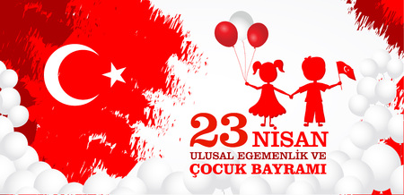 23 nisan cocuk baryrami. Translation: Turkish April 23 Children's Day. Vector illustration.