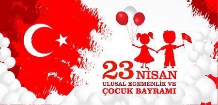 23 nisan cocuk baryrami. Translation: Turkish April 23 Childrens Day. Vector illustration.