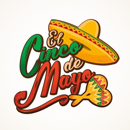 Cinco de Mayo lettering greeting text vector illustration. Illustration