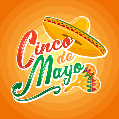 Cinco de Mayo lettering greeting text vector illustration with hat and maracas