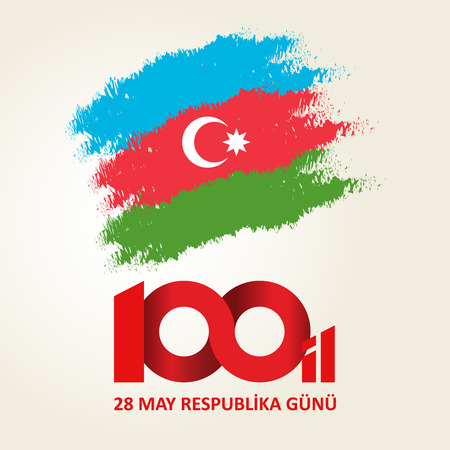 28 May Respublika gunu. Translation from azerbaijani: 28th May Republic day of Azerbaijan. 100th anniversary. 矢量图像