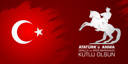 19 Mayis Ataturk'u anma, genclik ve spor bayrami. Translation from turkish: 19th may commemoration of Ataturk, youth and sports day. Banque d'images - 100405176