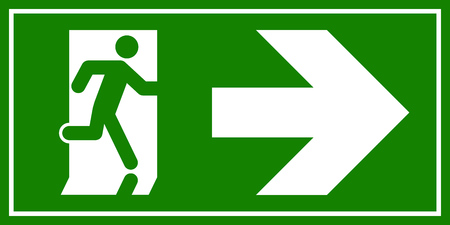 Emergency exit sign. Man running out fire exit.