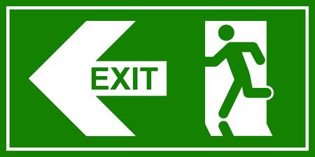 Nooduitgang teken. Man opraken nooduitgang. Vector Illustratie