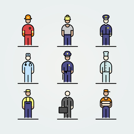 Set of professions icons avatar simple flat style illustration.