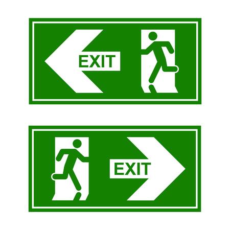 Nooduitgang teken. Man loopt uit nooduitgang.