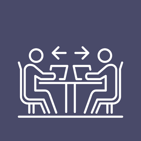 Teamwork business people icon simple line flat illustration. Иллюстрация